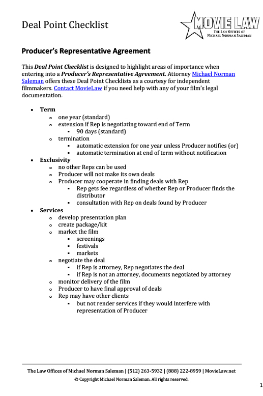 Producers Representative Agreement Movie Law